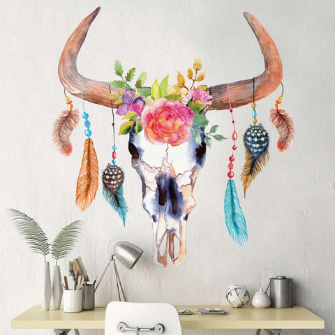 Bull Cow Skull Dreamcatcher Decal with Flowers and Feathers