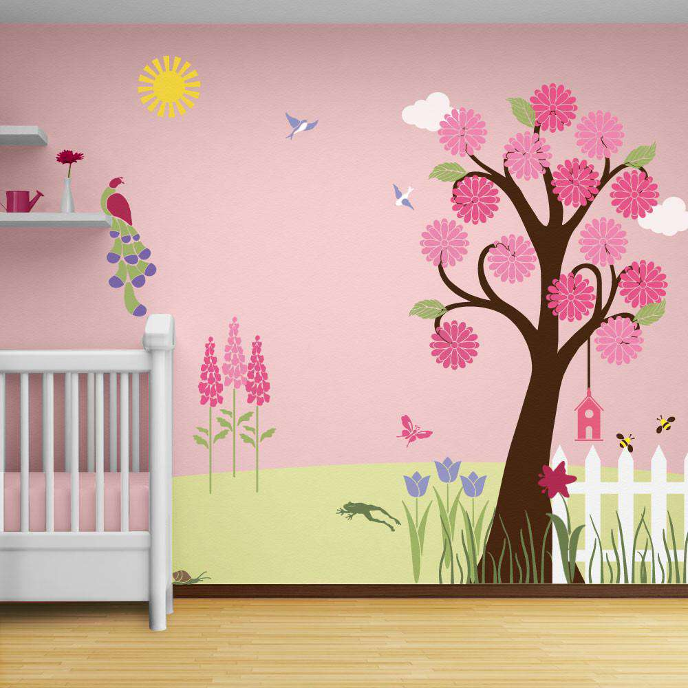 Wall mural stencil kits my wonderful walls splendid garden wall mural stencil kit amipublicfo Images
