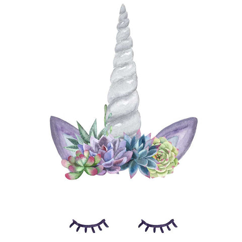 Unicorn Horn Decal with Eyelashes and Succulent Flower Crown