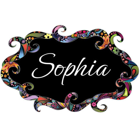 Floral Swirl Name Sign Wall Sticker