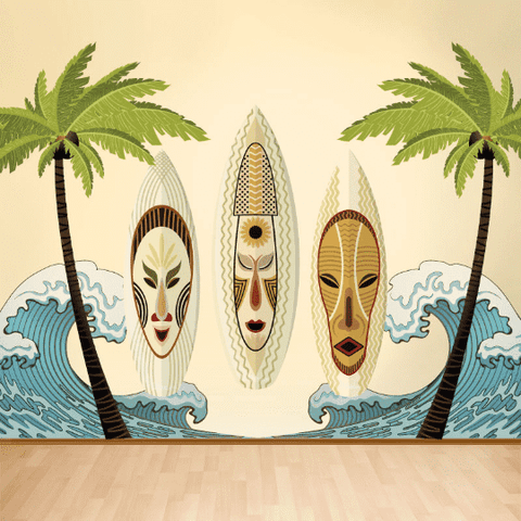 Tiki Surf Wall Decal Set