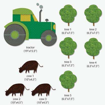 Tractor, Trees & Cows Sticker Pack