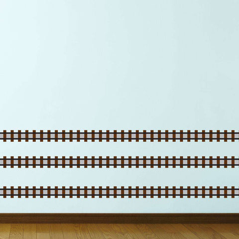 Train Track Wall Sticker - 20 Foot Peel & Stick Railroad Decal