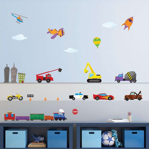 Train, Car, Airplane, Construction, Truck, and City Wall Stickers – Peel & Stick Decals for Nursery and Kid Rooms