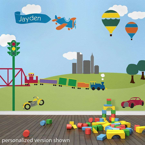 Transportation Fascination Wall Mural Stencil Kit   Trains, Planes, Cars  For Boys Room