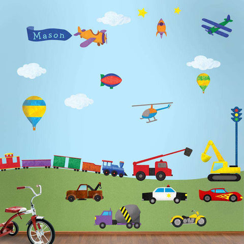 Cars Trucks Construction Wall Decals