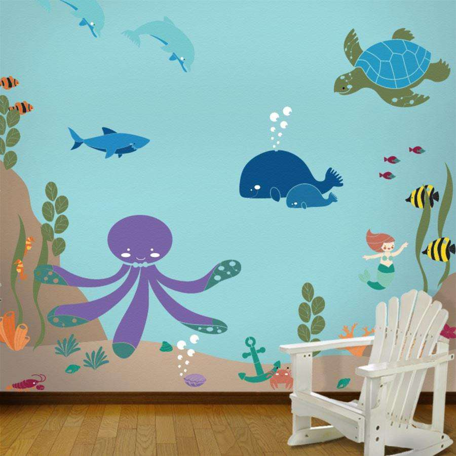 Under the sea theme ocean wall mural stencil kit my for Children wall mural ideas