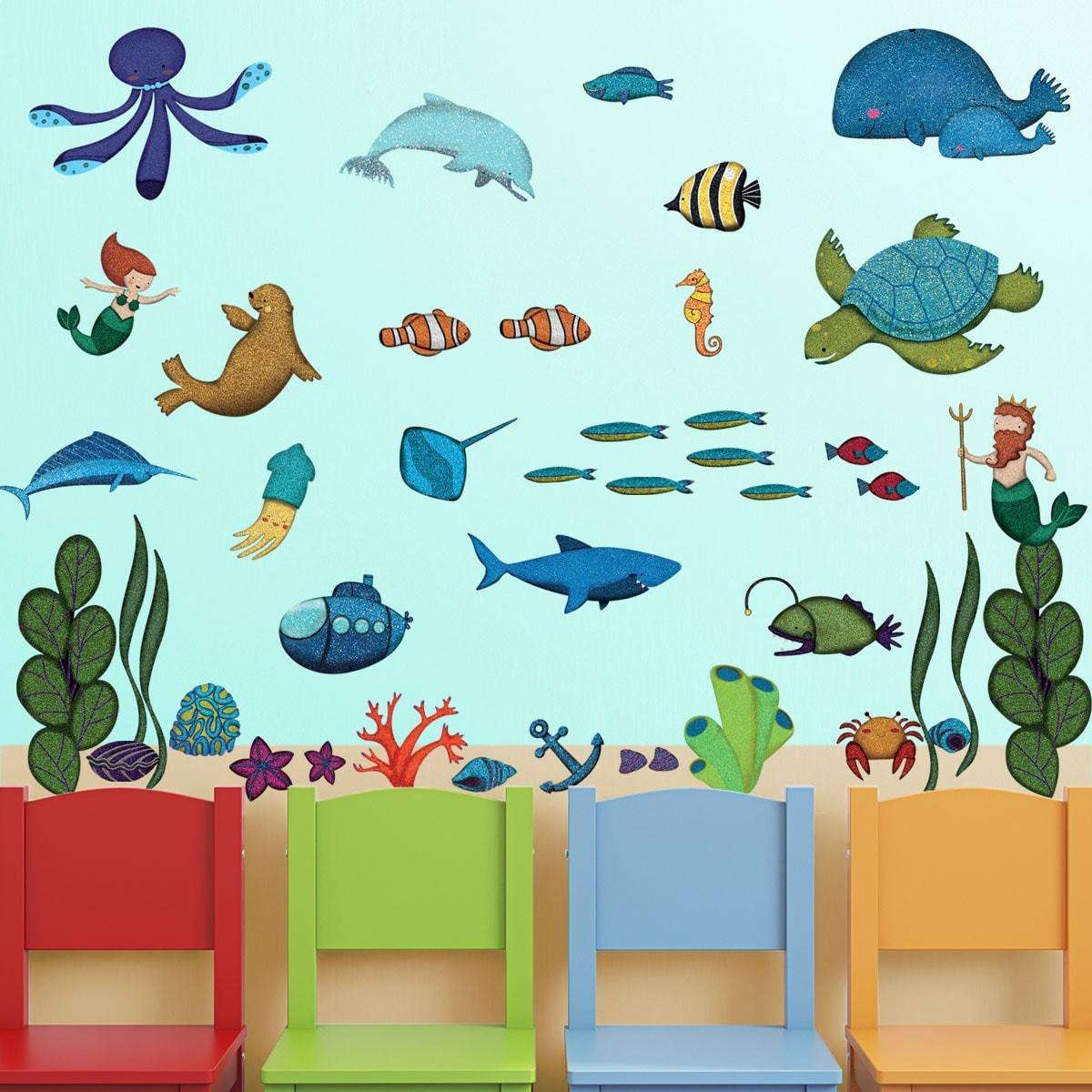 Ocean wall decals peel stick under the sea wall sticker kit ocean wall decor peel stick under the sea wall kit amipublicfo Gallery