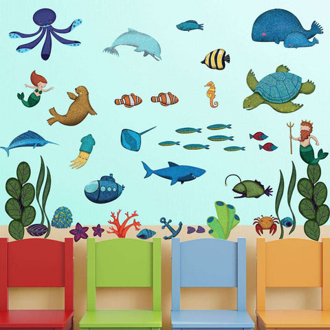 Ocean Wall Decor – Peel & Stick Under the Sea Wall Kit