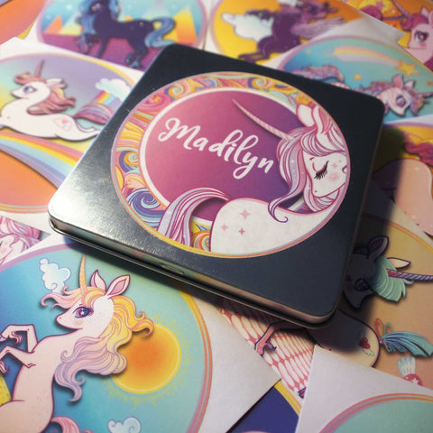 Unicorn Sticker Set & Party Favor in Personalized Gift Tin