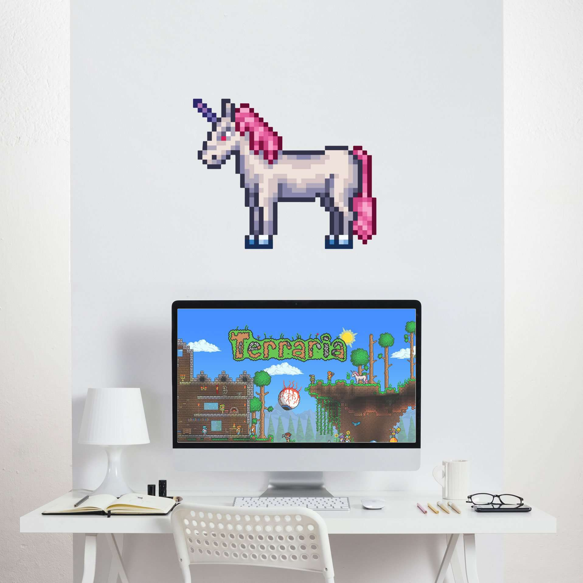 Terraria Wall Decal Set Party Decorations Video Game Background - How to put up a large wall sticker