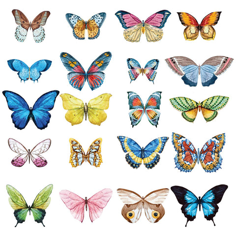 Butterfly Wall Decals - Set of 20 Realistic Watercolor Butterflies