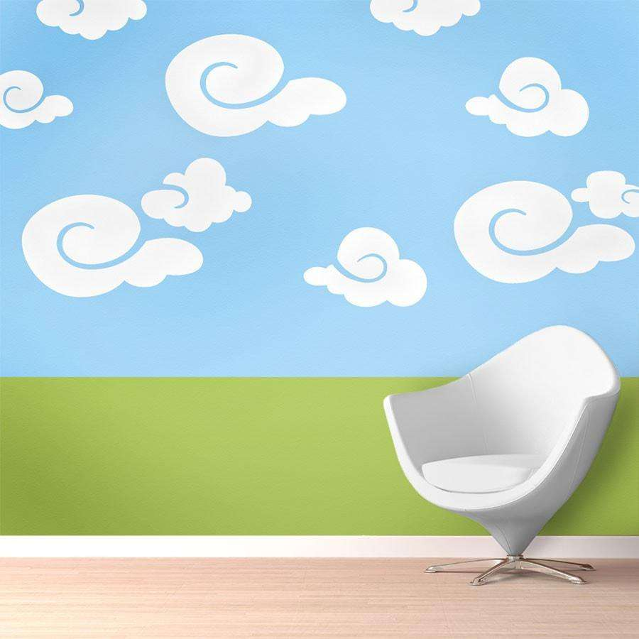 Wall mural stencil kits my wonderful walls whimsy clouds wall stencil kit amipublicfo Choice Image