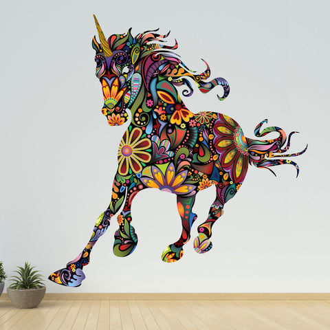 Wild Unicorn Wall Decal in Rainbow Floral Pattern