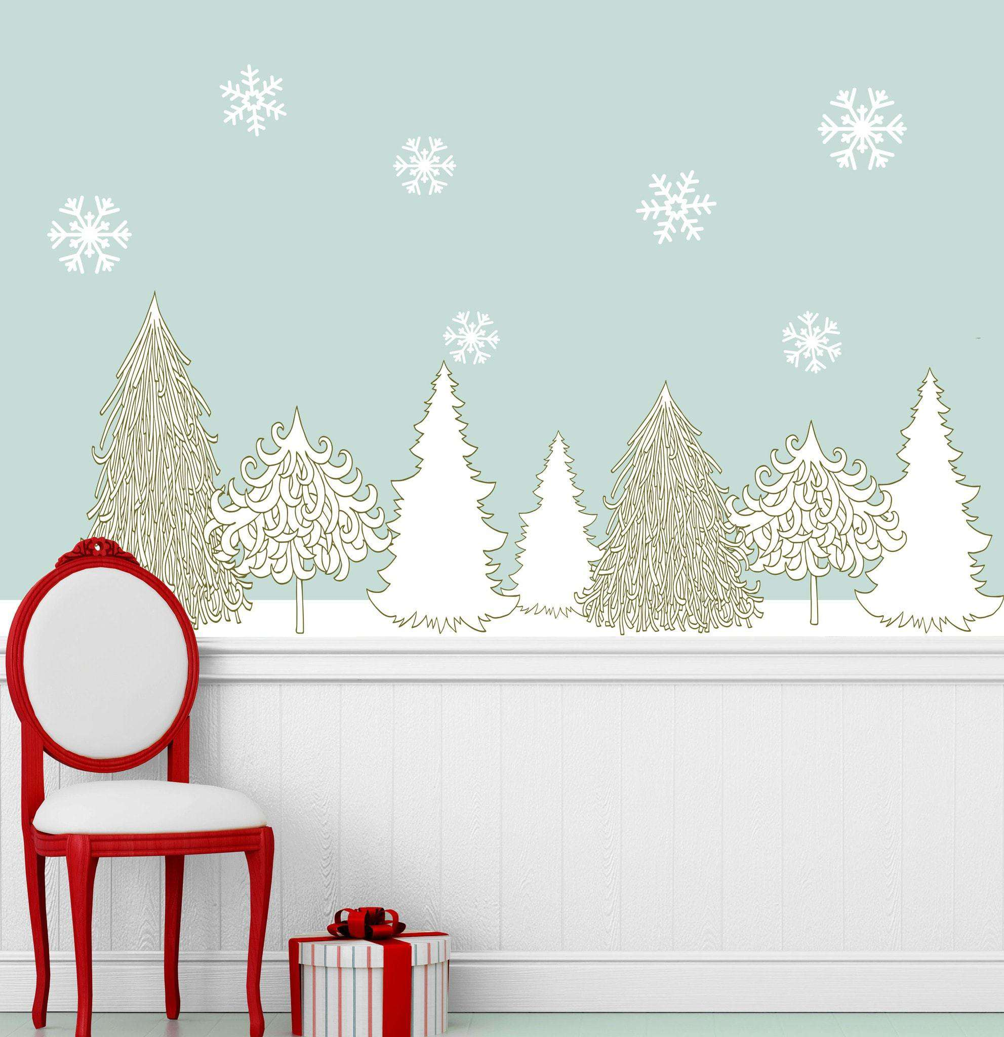 Marvelous Winter Wonderland Decal Set   Holiday Wall Decor Stickers   Snowflakes U0026  Trees