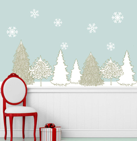 Winter Wonderland Decal Set - Holiday Wall Decor Stickers - Snowflakes & Trees