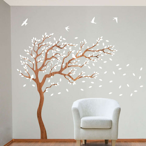 Breezy Tree Wall Decal and Bird Stickers in White and Wood Grain