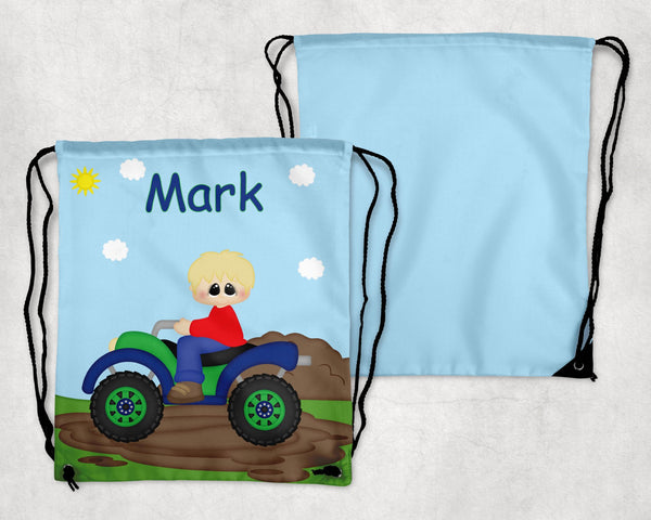 ATV 4-Wheeler Boy Drawstring Bag