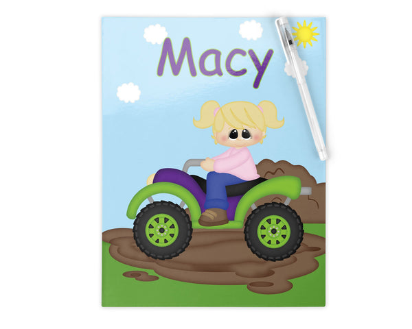 ATV 4-Wheeler Girl Kids Notebook
