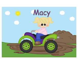 ATV 4-Wheeler Girl Kids Placemat