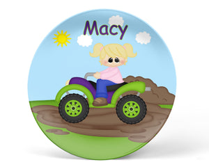ATV 4-Wheeler Girl Kids Plate