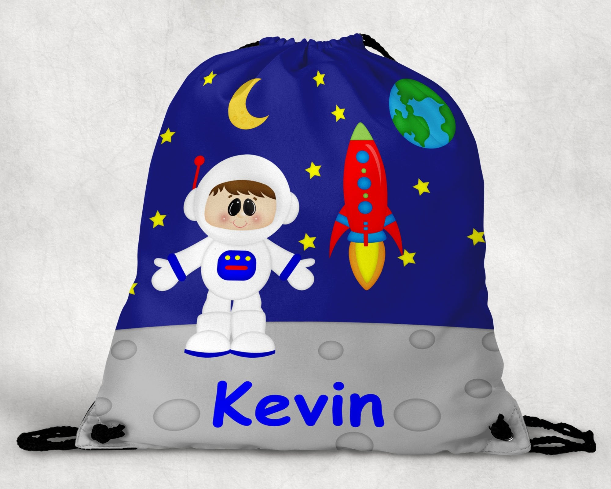 Space Astronaut Boy Personalized Drawstring Bag