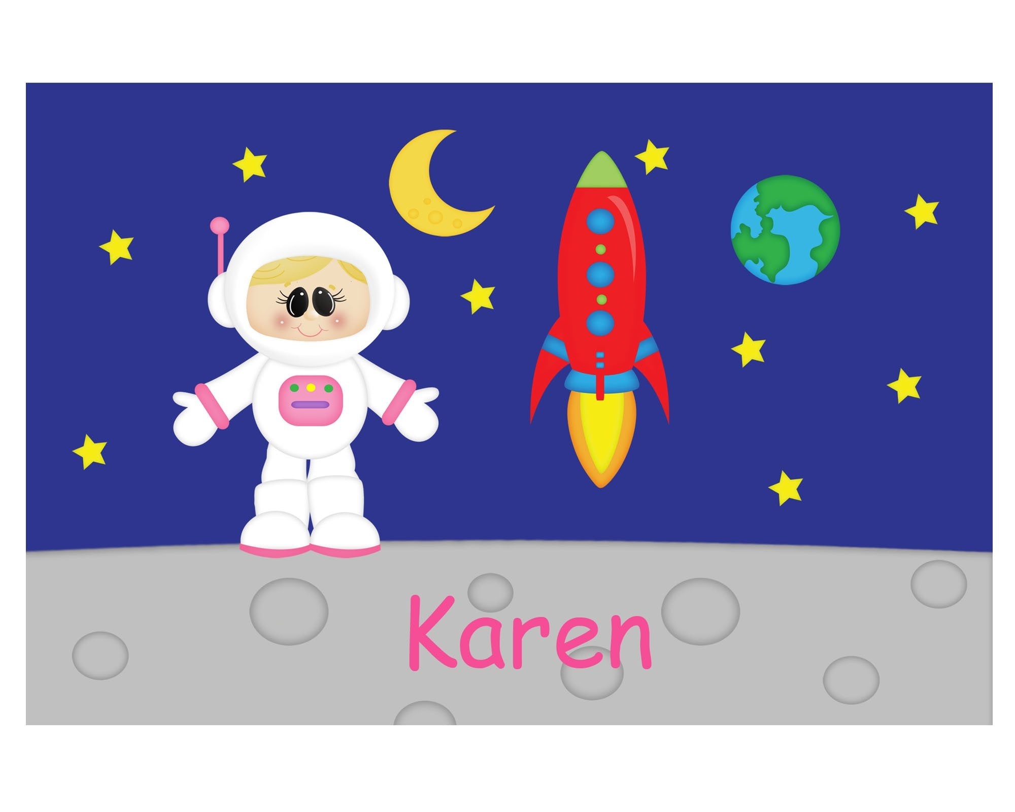 Space Astronaut Girl Kids Placemat