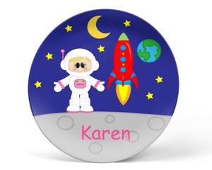 Space Astronaut Girl Kids Plate