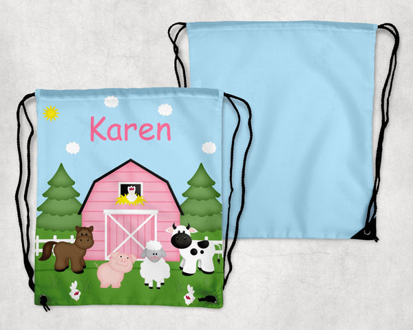 Barn Yard Pink Personalized Drawstring Bag
