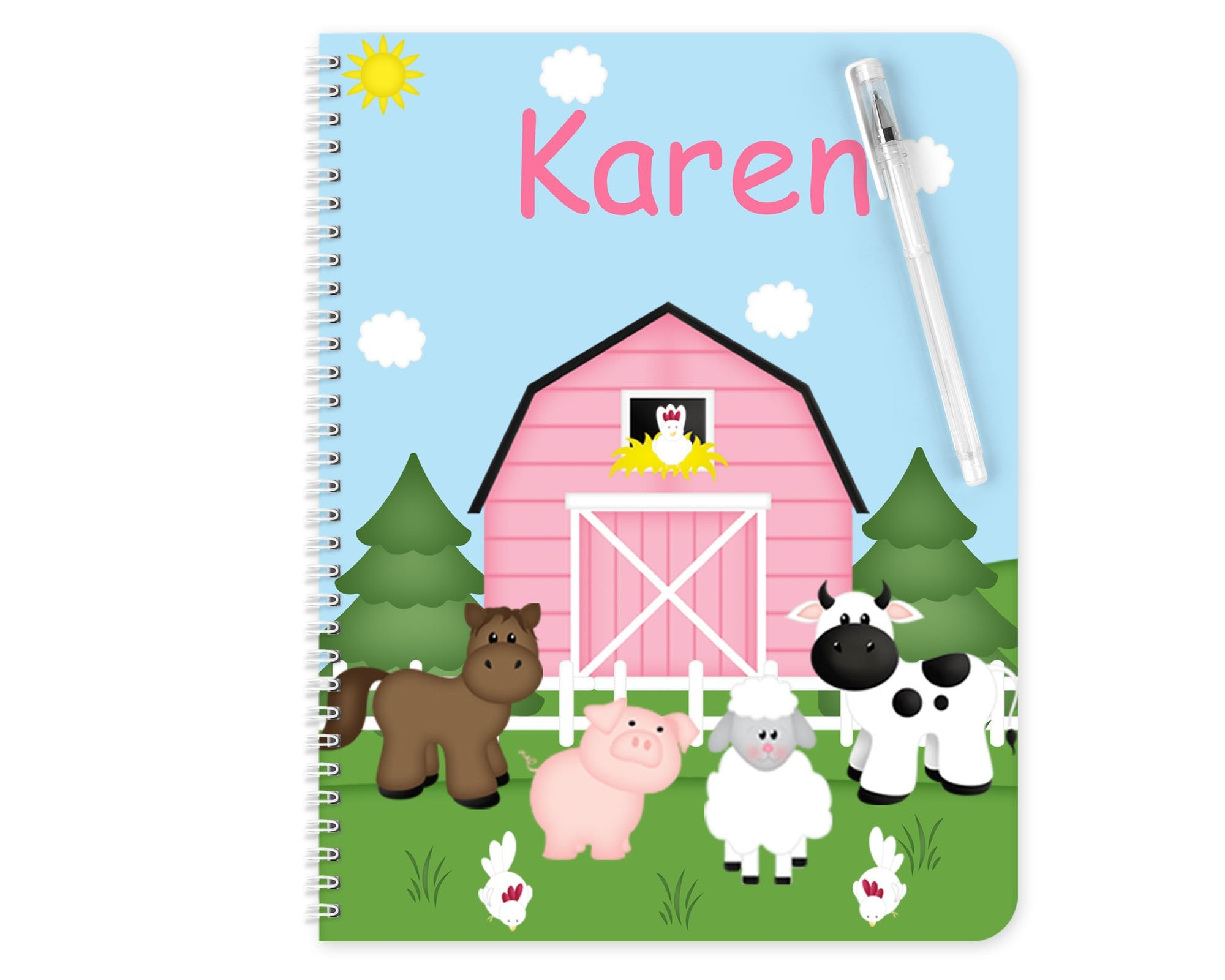 Barn Yard Pink Kids Notebook