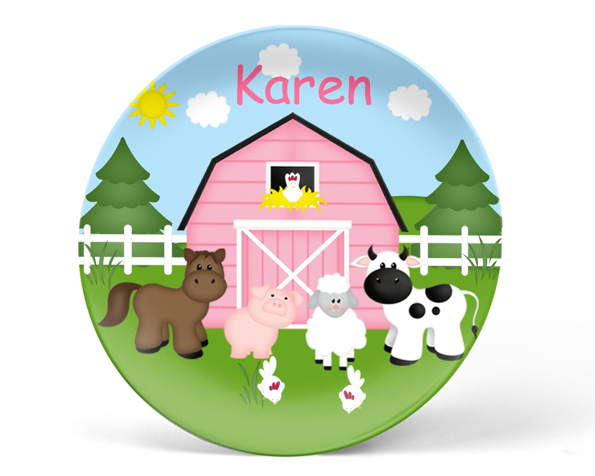 Barn Yard Pink Kids Plate