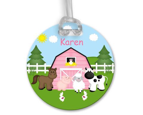 Barn Yard Pink Bag Tag
