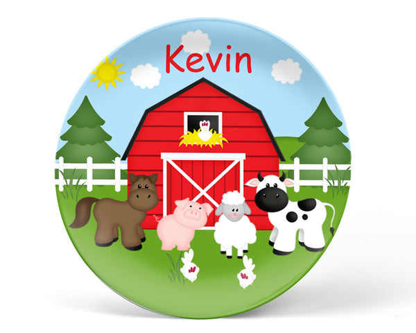 Barn Yard Red Kids Plate