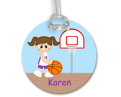 Basketball Girl Bag Tag