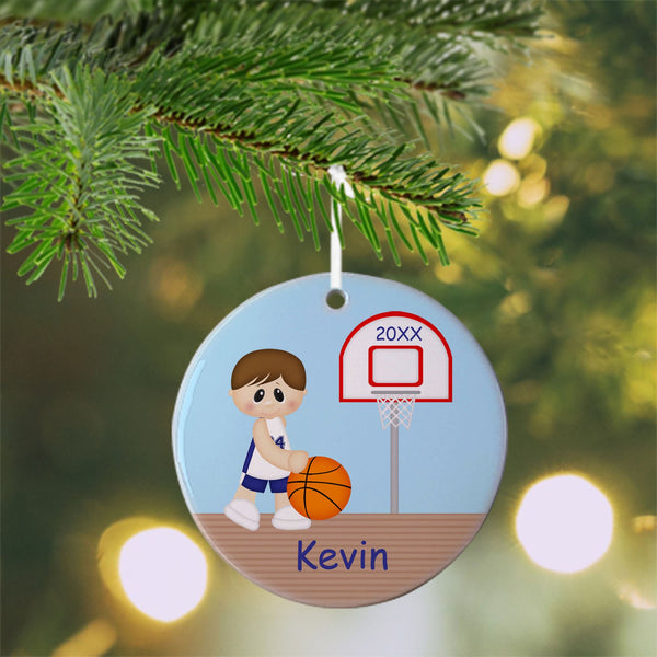 Basketball Boy Christmas Ornament