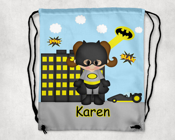 Batgirl Super Hero Personalized Drawstring Bag
