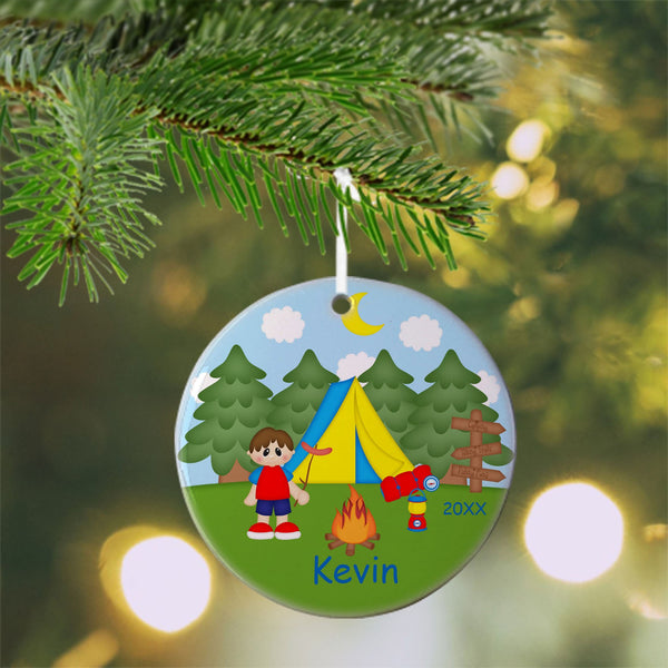 Camping Boy Christmas Ornament