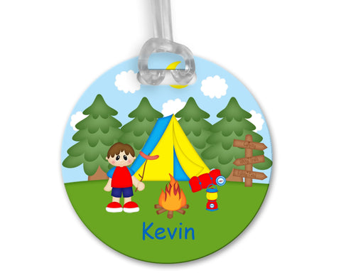 Camping Boy Bag Tag