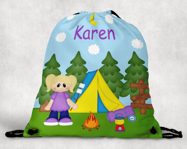 Camping Girl Drawstring Bag