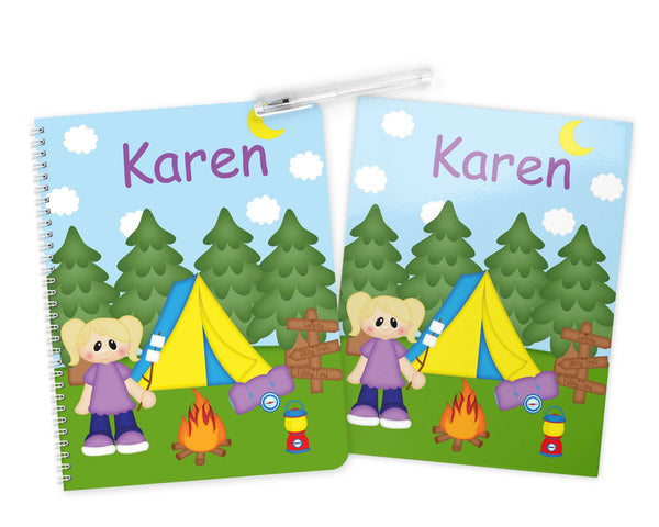 Camping Girl Kids Notebook