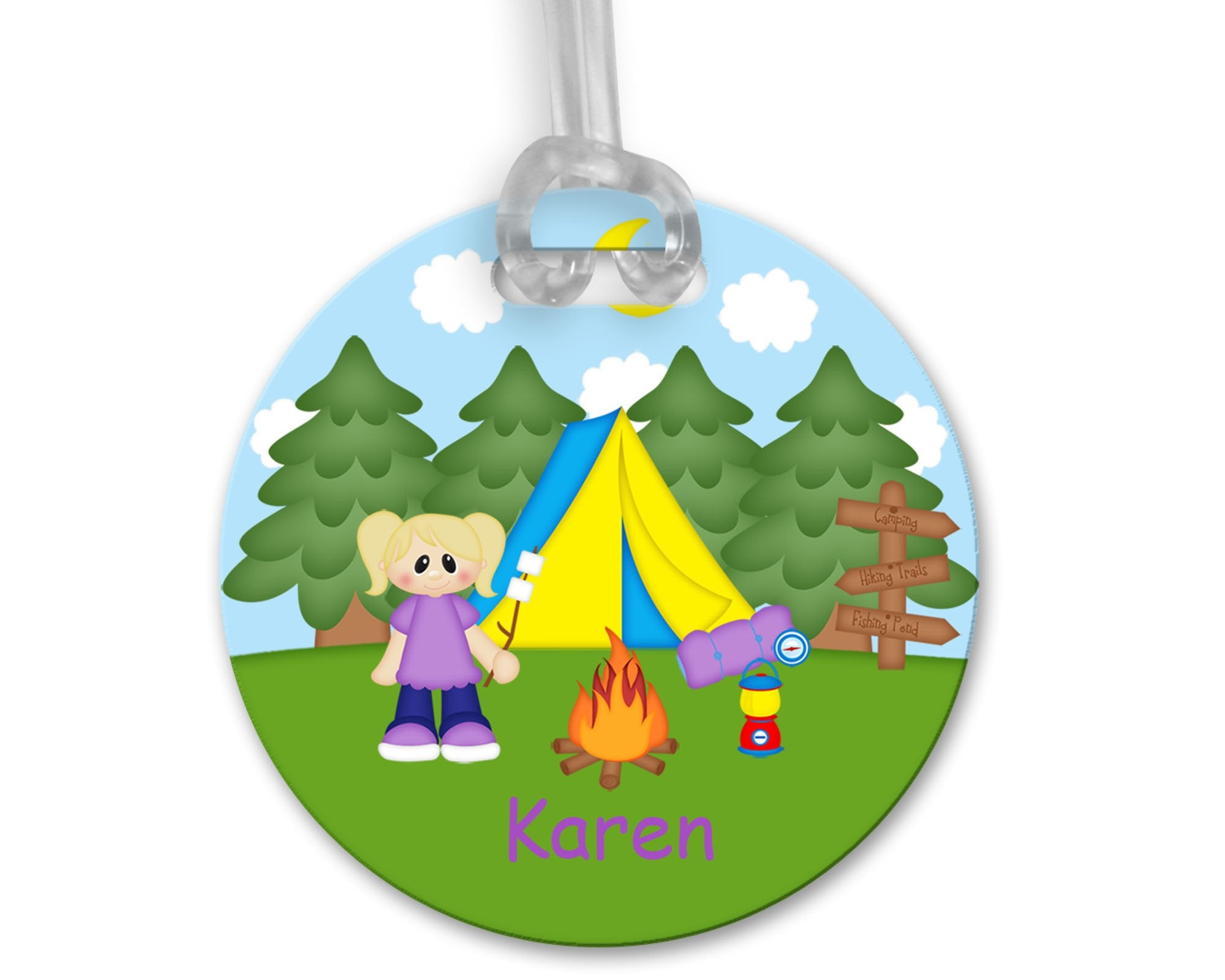 Camping Girl Bag Tag
