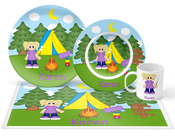 Camping Girl Kids Plate