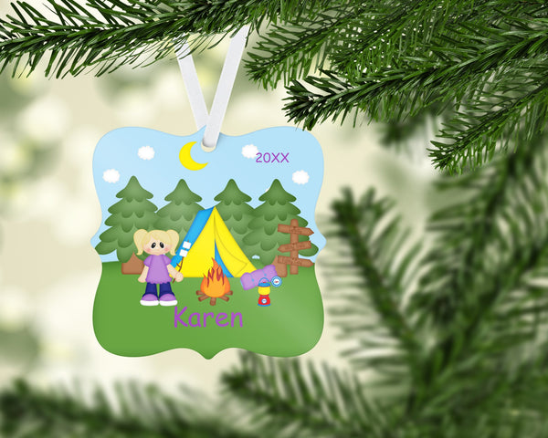 Camping Girl Christmas Prague Ornament