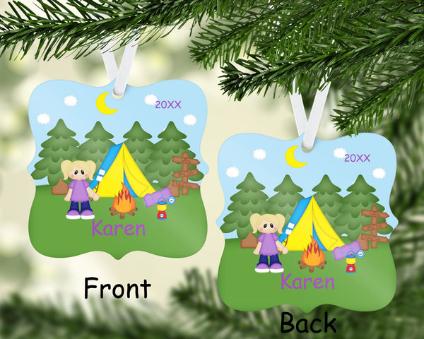 Gone Camping Girl Christmas Ornament