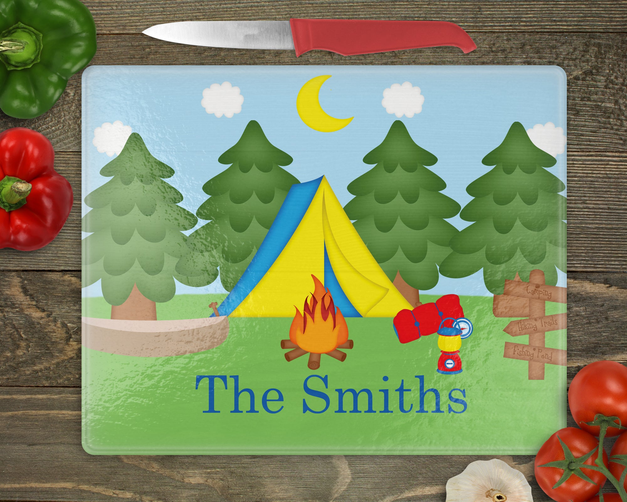 Camping Personalized Cutting Board
