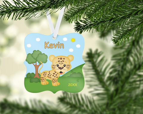 In the Jungle Personalized Cheetah Christmas Ornament