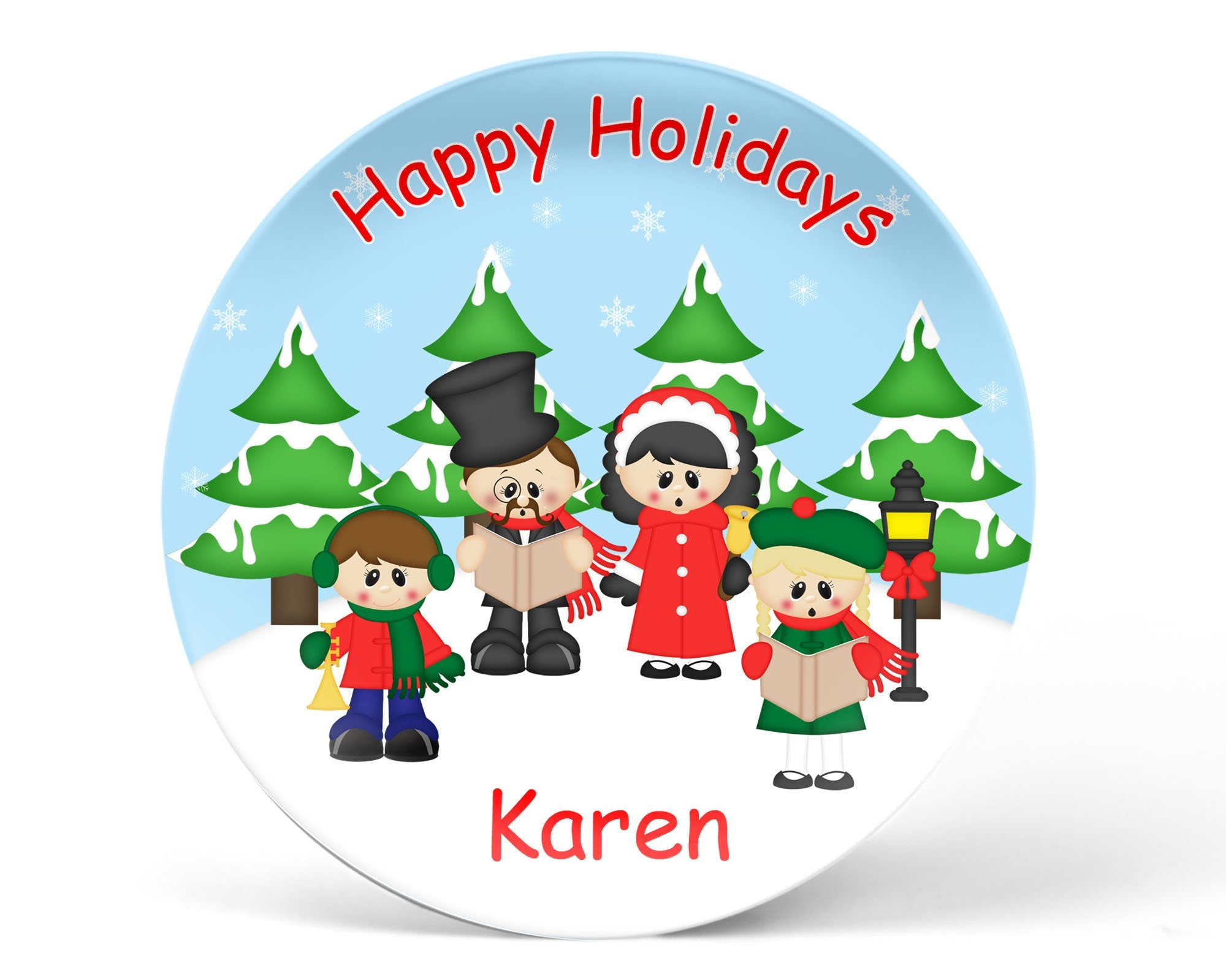 Christmas Carolers Kids Plate