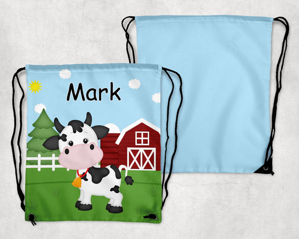 On the Farm Cow Drawstring Bag