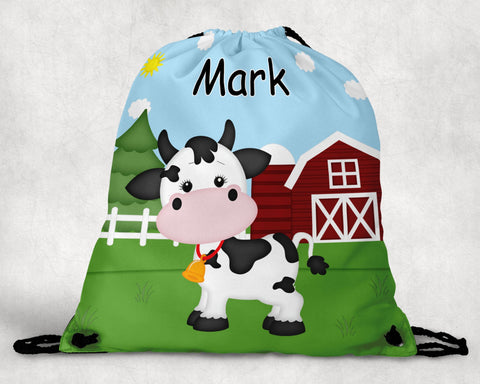 On the Farm Cow Personalized Drawstring Bag