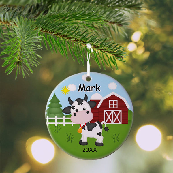 On the Farm Cow Christmas Ornament